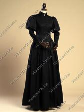 Victorian Gothic Black Dress Steampunk Ghost Witch Halloween Costumes N 006 XL