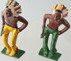 Grey Iron 11 Cast Iron Toy Soldiers 2 Native Americans w/ Hatchet Headdress 1939