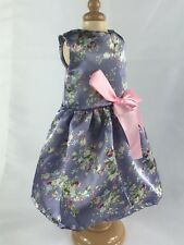 for American Girl Clothes Purple floral Asian patterned Satin fabric Dress~Ivy