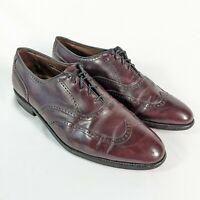 AE Allen Edmonds Marlow Burgundy Leather Size 9.5 D Wingtip Dress Shoes 4187