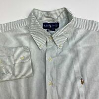 Ralph Lauren Button Up Shirt Men's 2XL XXL Long Sleeve White Green Striped Logo