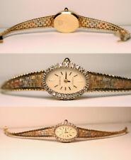 Geneve Ladies Solid 14K Tri Color Gold & Diamond Wrist Watch Rolex Style Band