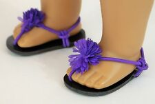 "For American Girl or 18"" Dolls Purple Sandals w/ Flower, Accessories / Clothing"