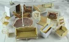 1960's Wood Doll House Furniture Lovely Bed Sofa Bench Chair Chest Lot