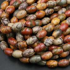 "Red Creek Jasper Drum Barrel Tube Beads MultiColor Picasso Jasper 16"" Strand"