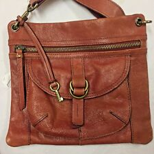 FOSSIL Crossbody MESSENGER Pebbled Leather Dusty ROSE Distressed w Key