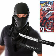 Mens Adult Ninja Hood Halloween Fancy Dress Costume Outfit with Toys