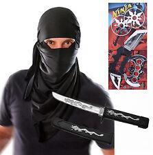 Mens Adult Ninja Terrorist Hood Halloween Fancy Dress Costume Outfit with Toys