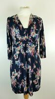 Boden Ladies Blue Abstract Colour Print Stretch Jersey Smock Dress UK 14 R