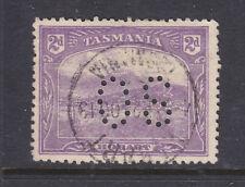 "New listing Tasmania: 2d Pictorial Wmk Sg 259 Per 12.5 Used Perfin ""Os"" Scarce!"