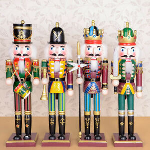 4X/SET 30CM Wooden Nutcracker Soldier Handcraft Walnut Puppet Toy Christmas Gift