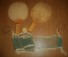 Vintage Table Tennis Ping Pong Set - 2 Paddles Table Net & 1 Ball - Well Used