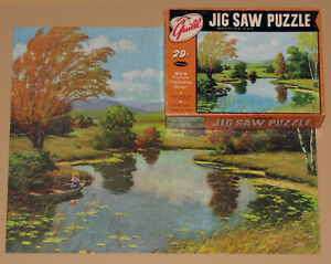 "VTG WHITMAN GUILD PICTURE PUZZLE JIGSAW ""WINDING CREEK"" AUTUMN FISHING BOAT CIB"