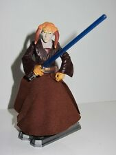 STAR WARS Jedi Master Toy Figure SAESEE TIIN with DISPLAY BASE & BLUE LIGHTSABER