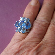 Stunning Silver Ring With Rich Blue Violet Tanzanite Gem Size M12 In Gift Box
