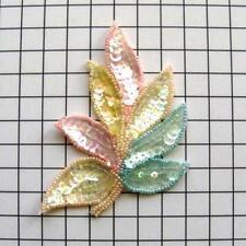 "FS476 Leaf Applique Sequin Ceylon Multi Color Combo Beaded Motif 4"""