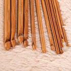 """12 pcs Bamboo Handle Crochet Hook Knit Weave Yarn Craft Knitting Needle Set 6"""""""