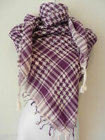 New Purple White Shemagh Head Scarf Neck Wrap Arafat Keffiyah Desert Cover Shawl