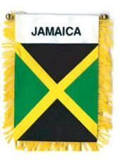 """Jamaica Mini Banner Flag 3 x 5"""" with Brass Staff & Suction Cup - New"""