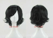 USA SHIP NEW Fashion Short layered Black Anime Cosplay Wig Party Wig + wig cap