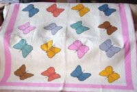 INCREDIBLE  ANTIQUE  BUTTERFLY QUILT  CLEAN  SUPER QUILTING  HAND APPLIQUED