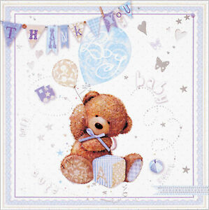 Pack Of 6 Thank You For The Baby Gift Cards & Envelopes - Baby Boy Bear