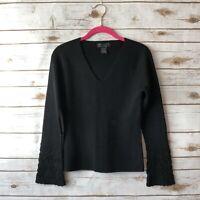 Sarah Spencer Petite SP Black 100% Italian Merino Crochet Sleeve V-Neck Sweater
