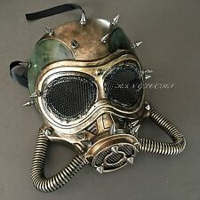 New Steampunk Gold Green Full Face Halloween Vintage Gas Mask
