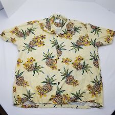 Two Palms Made in Hawaii Pineapple Design Short Sleeve Button Front Shirt XL