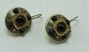 Vintage Michal Golan Pierced Earrings Multi Stones Signed Silver Gold