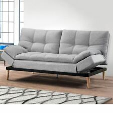 Squish Light Stone Grey Fabric Adjustable Recliner Two Seater Sofa Bed