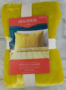 Opal House Velvet Pillow Sham Citron Yellow Tufted Stitch Standard NEW