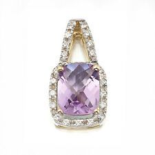 10K SOLID YELLOW GOLD NATURAL AMETHYST PENDANT