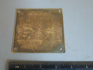Vintage Brass Plaque Screen Door Assembly Patterns A & B Collectible