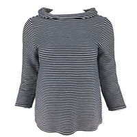 PURE COLLECTION Navy Blue White Striped Cowl Boat Neck Jersey Top10 Breton