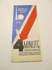 Vintage 1939 New York Routes to World's Fair 4 Minute Crossings Road Map