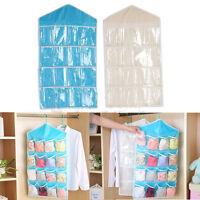 16 Pockets Clear Over Door Hanging Bag Shoe Rack Hanger Storage Organizer /L
