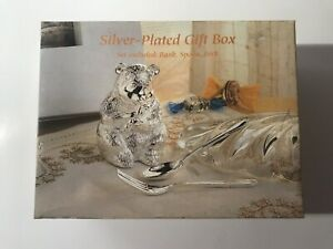 Baby Silver-Plated Gift Box Includes: Bear Bank, Spoon & Fork NIB