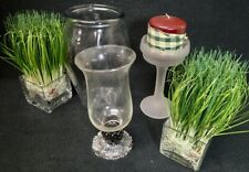 estate lot of contemporary home decor glass items planter vase candle holders