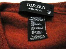 Toscano Made in Italy 100% Merino Wool Orange Sweater XL Extra Large X-Large