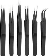 6-teiliges Pinzetten Set aus rostfreiem Edelstahl Metall Zangen Zange