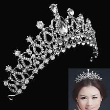 Beauty Women Wedding Bridal Princess Hair Tiara Crown Crystal Veil Headband Prom