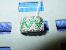 In Chevron Design Ring-Size 7 1/2 14K Yellow Gold Emerald & Diamond