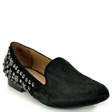 JEFFREY CAMPBELL ELEGANT DUO ~BLACK PONY HAIR / SUEDE SHOES ~ STUDS ~8.5 ~ FLATS