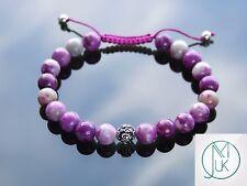 Sugilite Om Sterling Silver Dyed Natural Gemstone Bracelet 7-8'' Macrame Healing