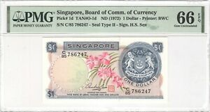 Singapore 1 Dollar 1972 P-1d PMG 66 EPQ