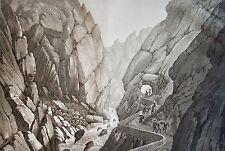 SALATHÉ : PIERRE LIS Vallée de l'Aude. D'apres MELLING. Aquatinte 1826