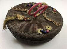 """Antique Chinese Sewing Basket Coins Beads Tassels Peking Glass Rings 11 3/4"""""""