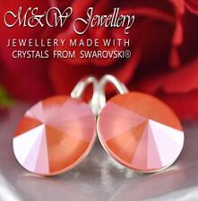 925 Sterling Silver Earrings RIVOLI Light Coral S 14mm Crystals From Swarovski®