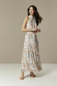 RRP £60, NEW WALLIS Cream Watercolour Leaf Halter Maxi Dress, SZS 12-18
